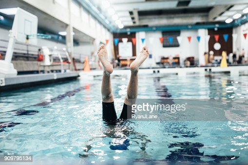 Boy In Pool for Swim Practice