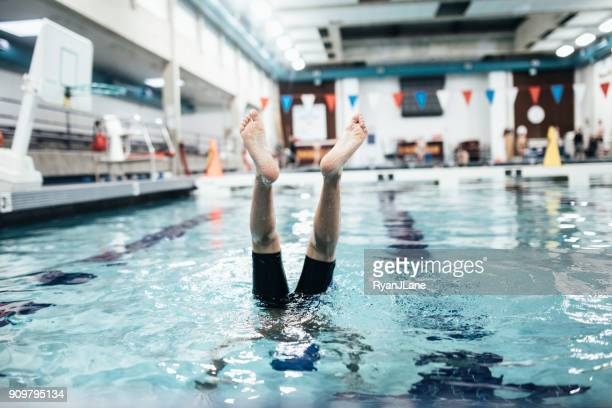 Boy In Pool for Swim Practice
