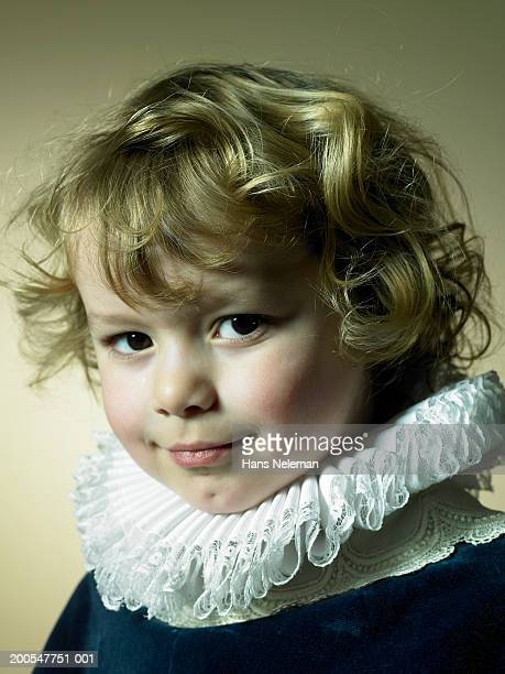 boy (2-3) in prince costume with golden curly hair, portrait - neck ruff stock pictures, royalty-free photos & images
