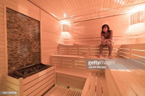Boy in sauna