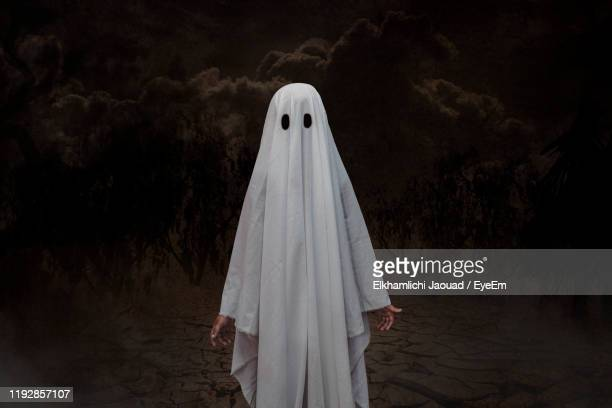 boy in spooky costume standing outdoors - primary age child stock pictures, royalty-free photos & images
