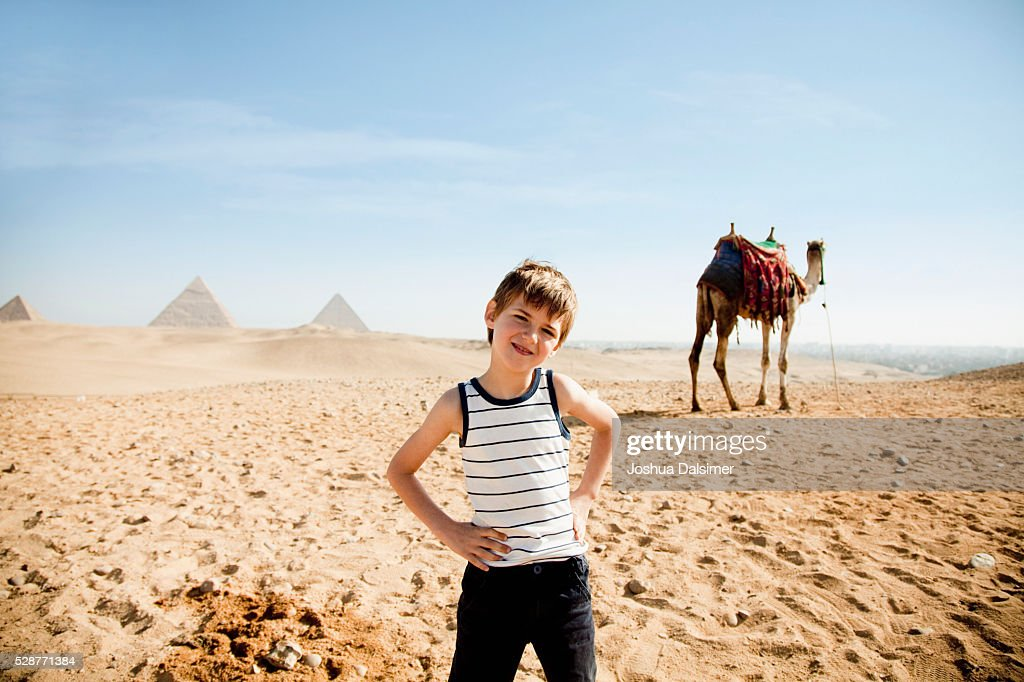 Boy in the desert : Stock Photo