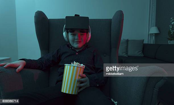 Boy is ready for a home cinema virtual reality experience