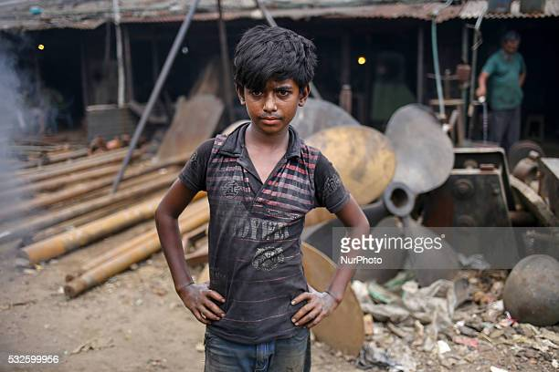 A boy is working in an extreme hot environment which is also dangerous Ship building industry in Bangladesh spreading rapidly where workers from all...