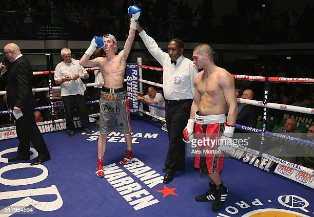 Boy Jones Junior celebrates victory over Gyula Tallos after the International SuperFeatherweight contest at York Hall on March 25 2016 in London...