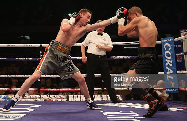 Boy Jones Junior on his way to victory over Aroni Sziagyi during the International Super Featherweight Contest between Boy Jones Junior and Aroni...