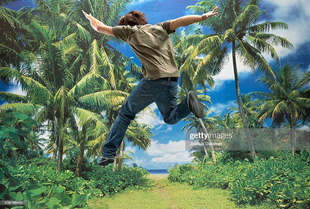 Boy jumping : Stock Photo