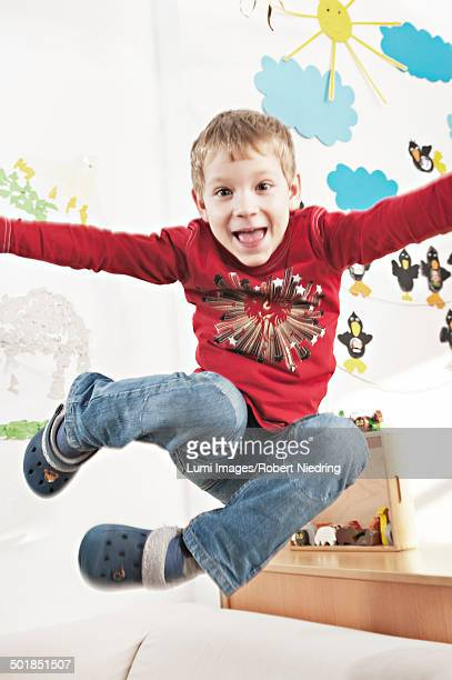 Boy Jumping, Portrait, Kottgeisering, Bavaria, Germany, Europe