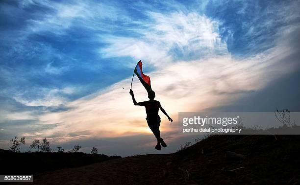 boy jumping with indian flag - indian flag stock pictures, royalty-free photos & images