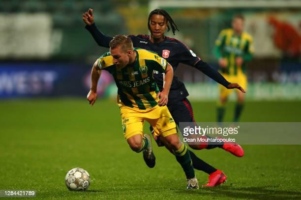 Boy Kemper of ADO Den Haag battles for the ball with Tyronne Ebuehi of FC Twente during the Dutch Eredivisie match between ADO Den Haag and FC Twente...