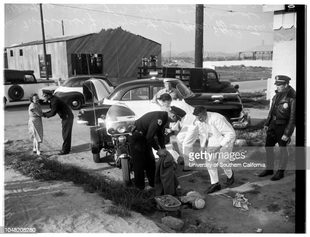 Boy killed in private driveway 22 February 1952 Wayne Bryant 2 years Mrs Charles J Bryant Curtis Frank Caption slip reads 'Photographer Gaze Date...