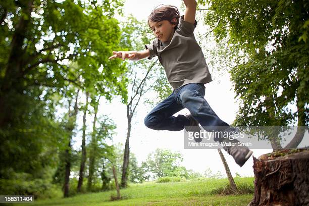 A boy leaping from a swinging rope in the woods.