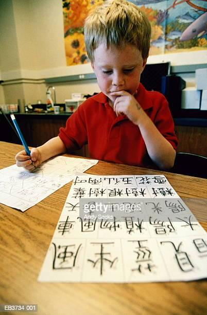 Boy (4-6) learning to write Chinese characters in school