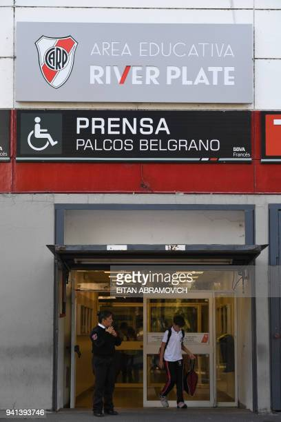 Boy leaves the school of Argentine football club River Plate, in Buenos Aires on April 3, 2018. Several youth players have reported suffering sexual...
