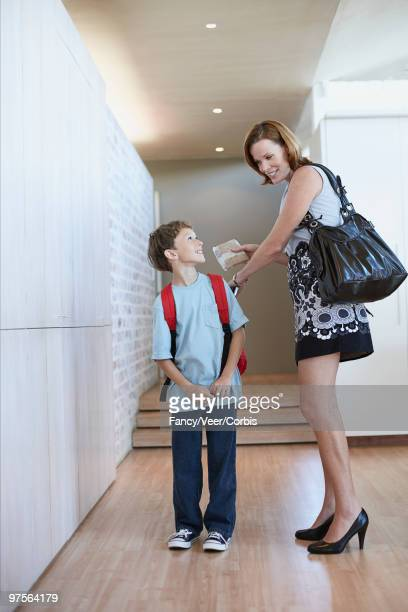 Boy leaving for school