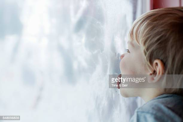 Boy licking inside of snow-covered window