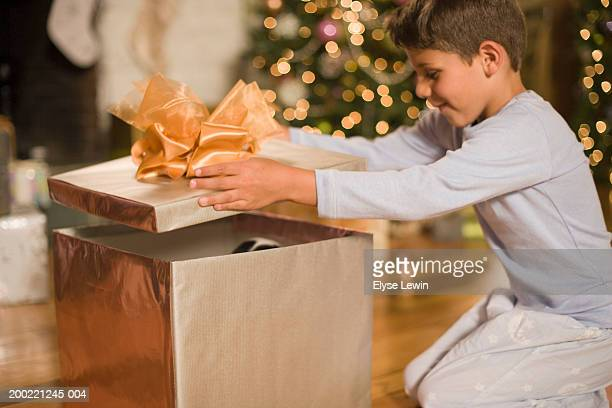 Boy (4-6) lifting lid off Christmas gift, smiling, side view