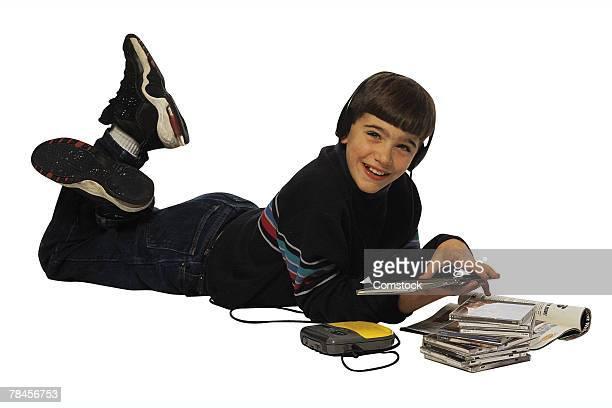 Boy listening to CDs