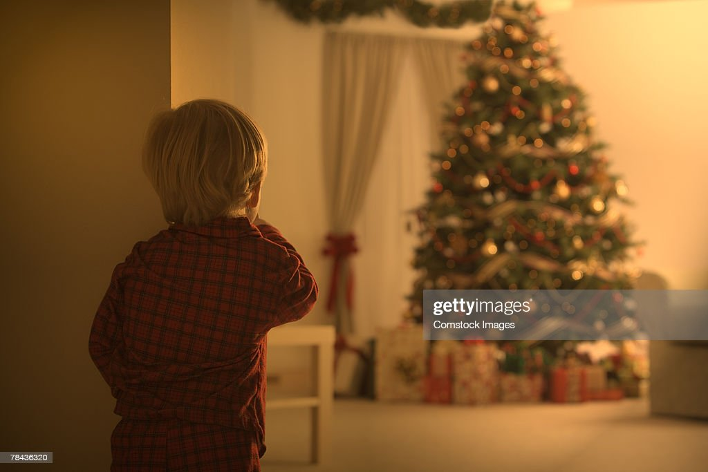 Boy looking at Christmas tree : Stockfoto