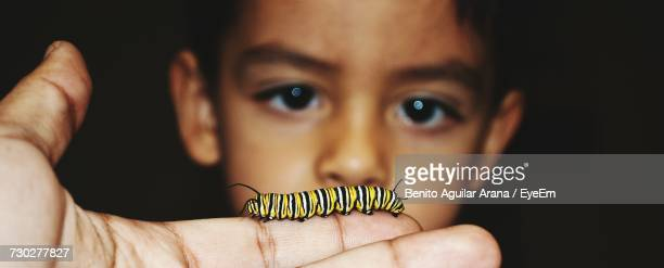 Boy Looking At Hand Holding Monarch Butterfly Caterpillar Against Black Background