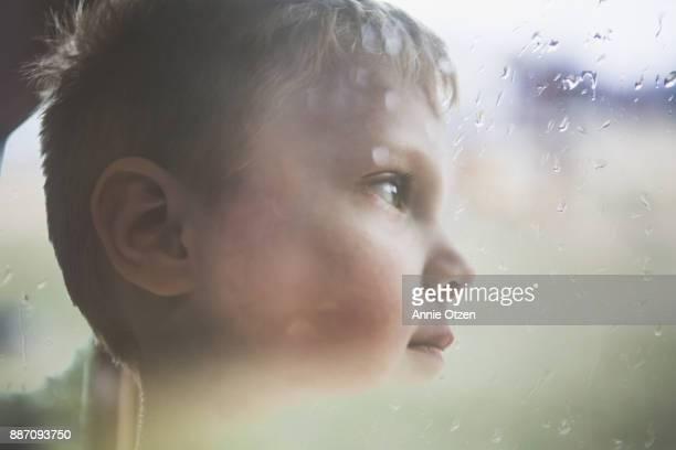 Boy Looking Away Double Exposure
