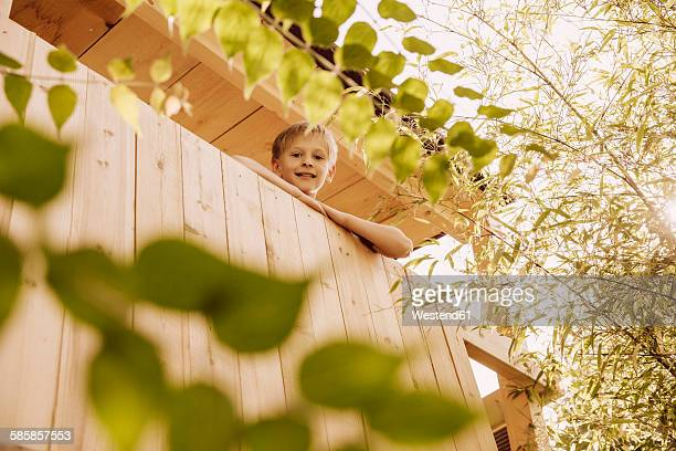 Boy looking out of a tree house