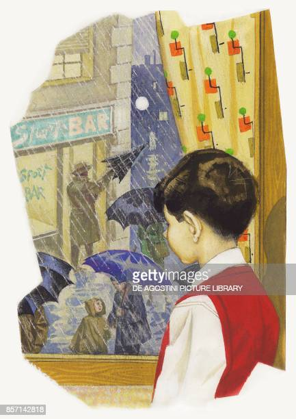 Boy looking out of a window on a rainy day at passersbys holding umbrellas drawing