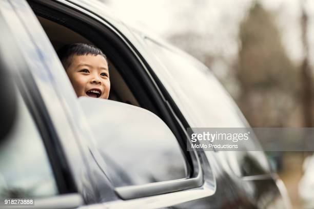 Boy (4yrs) looking out of car window