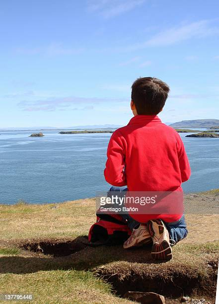 Boy looking over view of sea