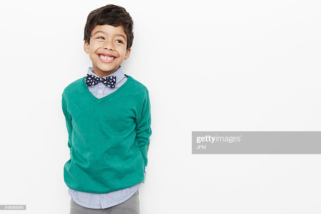 Boy looking preppy with bow tie : Stock Photo