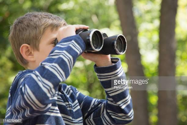 boy looking through binoculars in woods - binoculars stock pictures, royalty-free photos & images