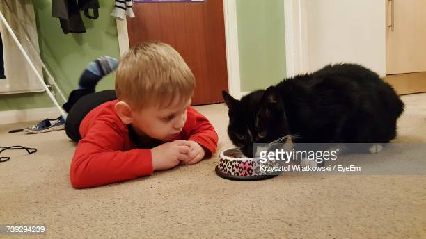 Boy Lying Down While Looking At Cat Eating Food At Home