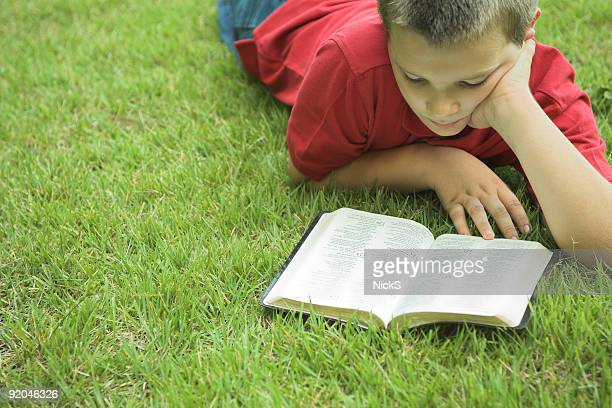 Boy lying grass reading a book