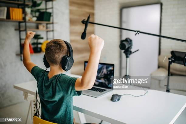 boy making vlog - influencer stock pictures, royalty-free photos & images