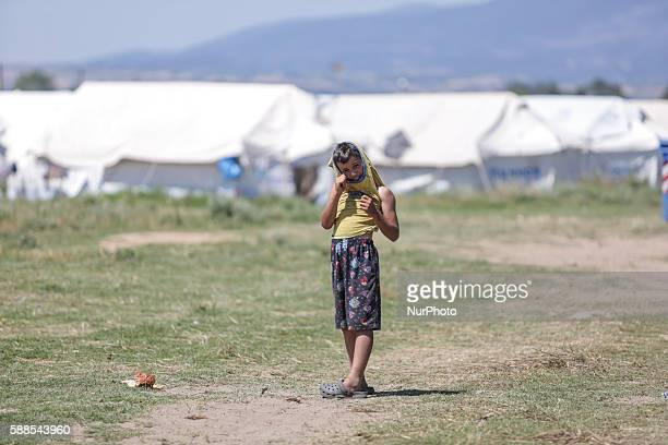 A boy migrant in Nea Kavala camp near Polikastro Northern Greece on 11 August 2016 This camp used to be an operational small airport but converted to...
