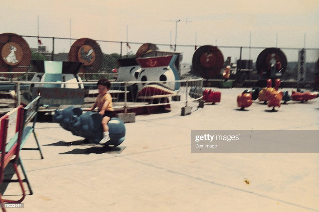 Boy on a amusement elephant ride : Stock Photo