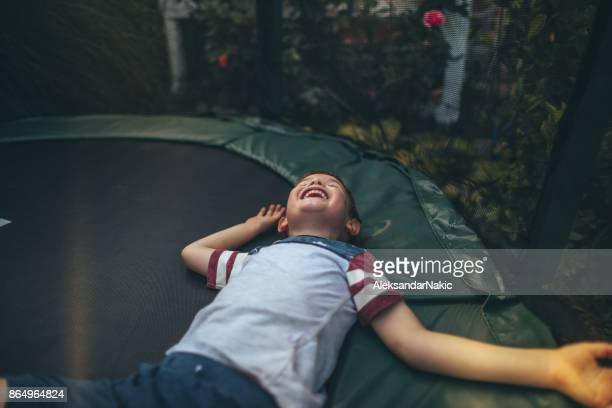 Boy on a trampoline