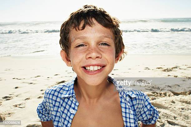Boy on beach, portrait