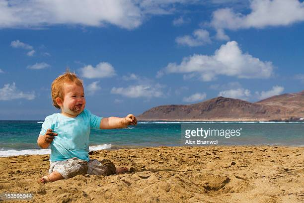 boy on canteras beach - one baby boy only stock pictures, royalty-free photos & images