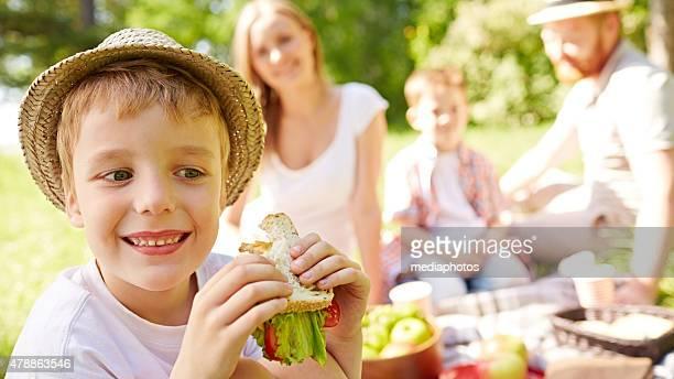 Boy on family picnic