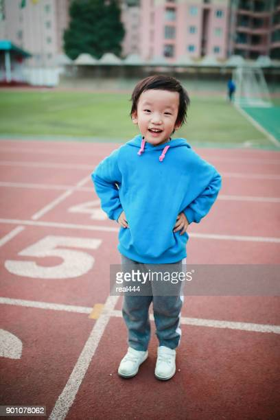 Boy on the running track