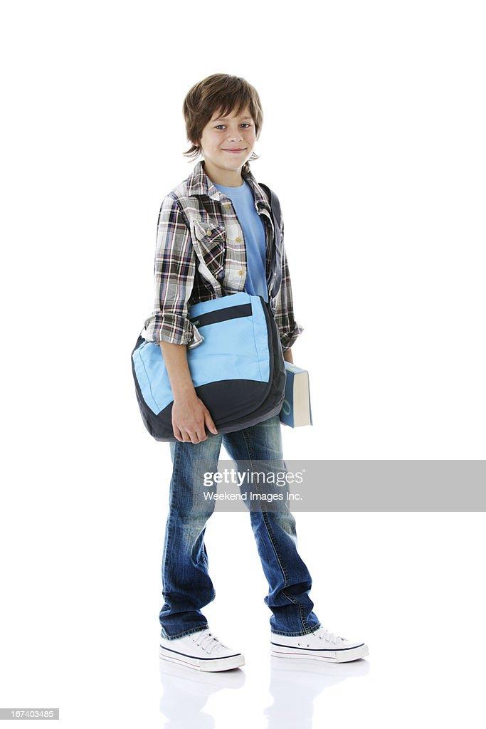 Junge auf weißem Hintergrund : Stock-Foto