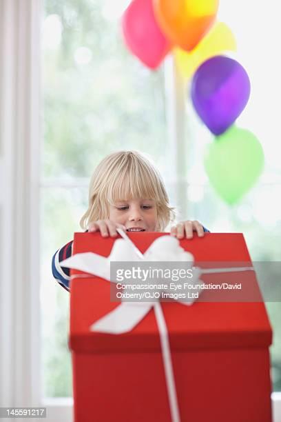 Boy (3-4) opening large present