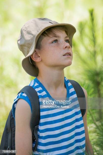 Boy outdoors, looking up attentively