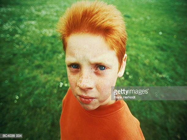 boy (7-9 years) outdoors, portrait (digital enhancement) - 8 9 years stock pictures, royalty-free photos & images