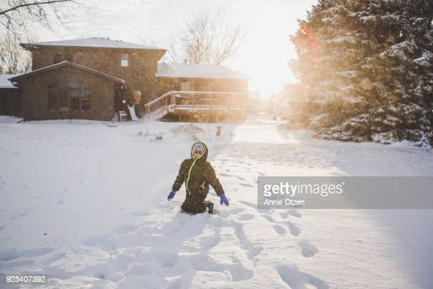 Boy Outside in the Snow