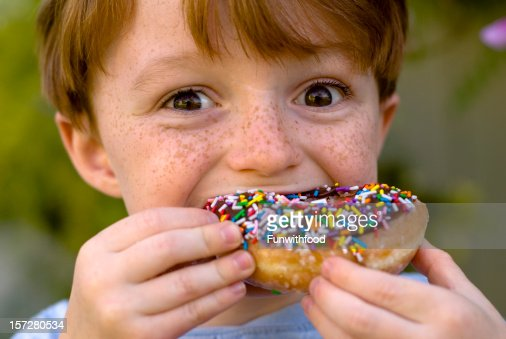 Boy Over Eating Chocolate Donut Child Snacking On