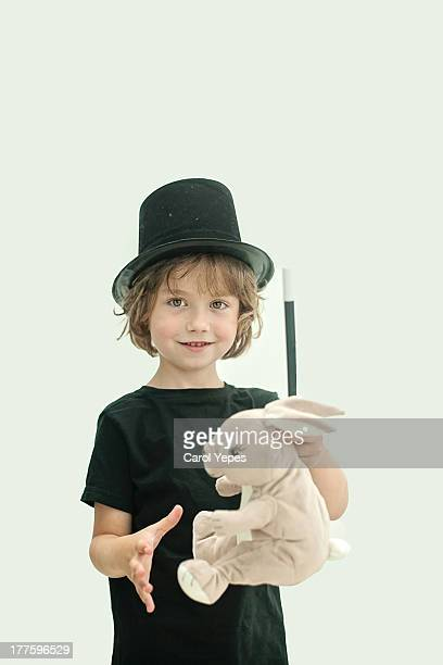 boy performing a magic trick