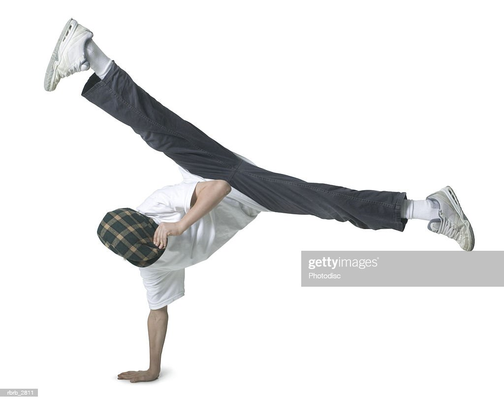 Boy performing acrobatics : Foto de stock