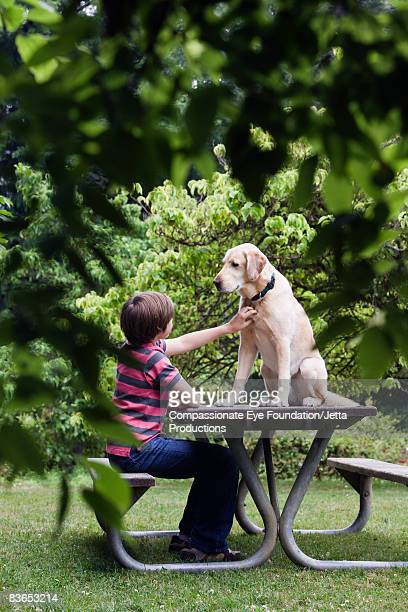 Boy petting dog sitting on a picnic table